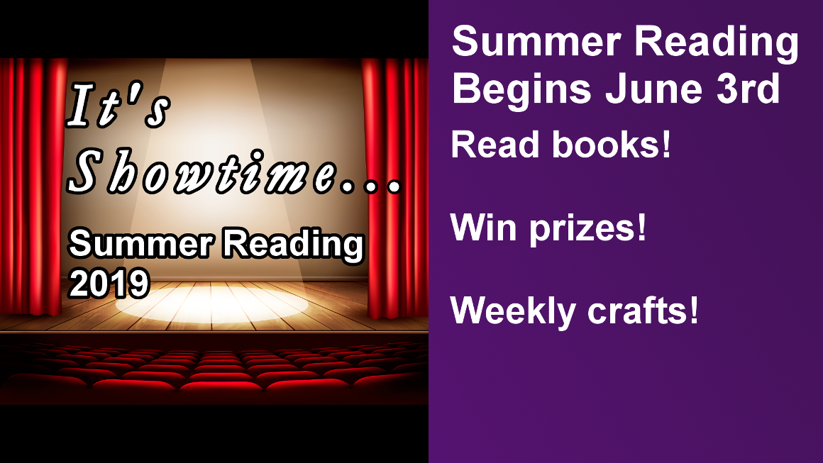 Summer Reading Begins June 3rd Read books!  Win prizes!  Weekly crafts!